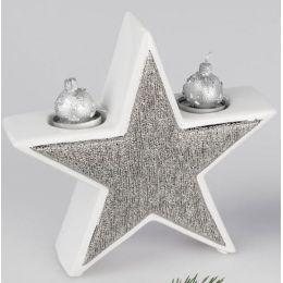 formano Deko Stern als Teelichthalter in Silber und Weiß, 22 cm