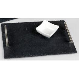 formano Deko Tablett aus Schiefer mit Edelstahlgriffen, 40 x 30 cm