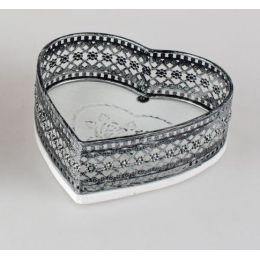 formano Deko Tablett in Herz Form aus Metall und Holz, 18 cm