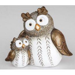 formano Dekofigur Eule Paar in Creme Braun aus Keramik, 22 cm