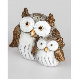 formano Dekofigur Eulen Paar in Creme Braun aus Keramik, 11 cm