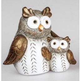 formano Dekofigur Eulen Paar in Creme Braun aus Keramik, 14 cm