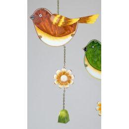 formano Dekohänger Vogel aus Metall und Glas in orange rot, 48 cm