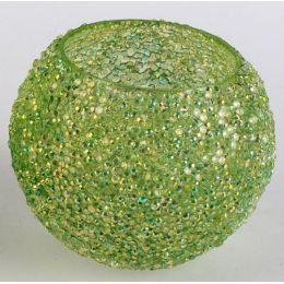 formano Glas Windlicht mit Eiseffekt in Grün, 12 cm