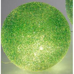 formano grüne Glaskugel mit Eiseffekt und LED Lichterkette, 15 cm