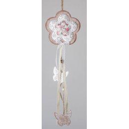 formano Hängedeko Blume in Creme mit rosa Rand, 45 cm