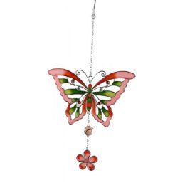 formano Hängedeko Schmetterling aus Tiffanyglas in rot, 22 cm