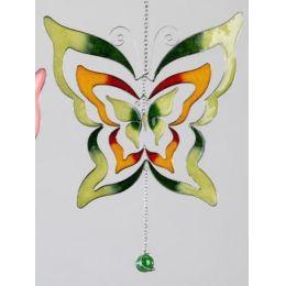 formano Hängedeko Schmetterling, Tiffany Glas, grün, 24 cm