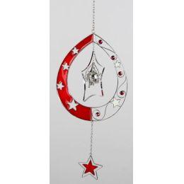 formano Hängedeko Tropfen mit Sternen in Rot Silber, 40 cm