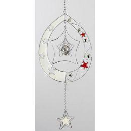 formano Hängedeko Tropfen mit Sternen in Silber Weiß, 40 cm