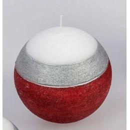 formano Kugelkerze Ring rot weiß silber, 8 cm
