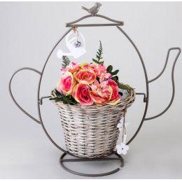 formano Pflanzkanne mit Blumentopf antik grau, 52 cm