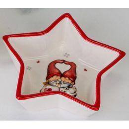 formano Schale Stern, Winterwichtel, rot, weiß, 13 cm