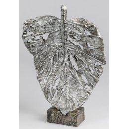 formano Skulptur Blatt auf Sockel in Silber, 42 cm