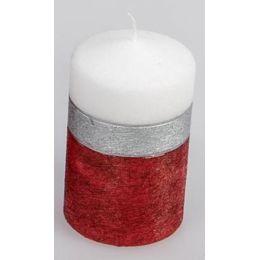 formano Stumpenkerze Ring weiß rot silber, 7 x 11 cm