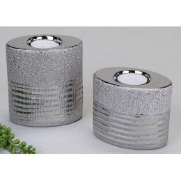 formano Teelichthalter aus Keramik mit Silberstreifen, 2er Set