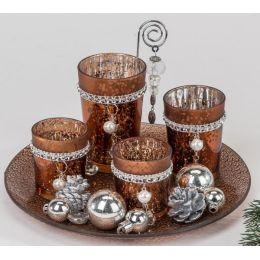 formano Teelichthalterset für den Advent, Amber mit Perle 25 cm