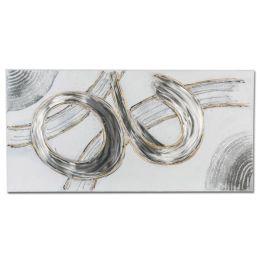 formano Wandbild aus Holz und Aluminium in Silber Gold, 100 x 50 cm