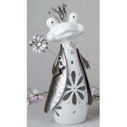 formano Windlicht Frosch aus Keramik und Metall in Weiß Silber, 38 cm