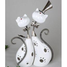 formano Windlicht Katzenpaar mit Wackelkopf, weiß silber, 29 x 37 cm