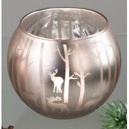 Formano Windlicht Waldzauber aus satiniertem Glas, 11 cm