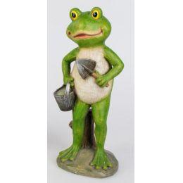 formano witzige Dekofigur Frosch mit Eimer und Schaufel in Grün, 30 cm