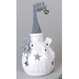 formano, Windlicht Schneemann, Porzellan mit Durchbruch, 20 cm