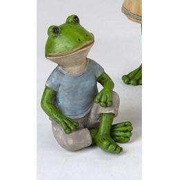 Frosch Figur sitzend mit blauem Shirt, 9 x 4 cm