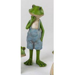 Frosch Figur stehend mit blauer Hose, 14,5 cm