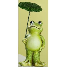 GILDE Deko Frosch aus Keramik, stehend mit Schirm in der Hand, 12 cm