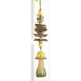 GILDE Deko-Hänger Pilz aus Holz, gelb mit Blümchen, 38 cm