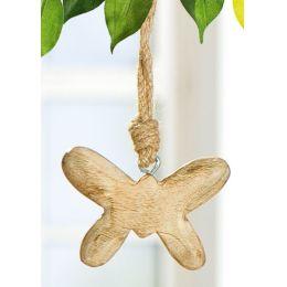 GILDE Deko-Hänger Schmetterling aus Mangoholz, 13 cm