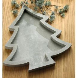 GILDE Deko-Schale in Tannenbaumform aus Zement, 30 x 30 x 3 cm
