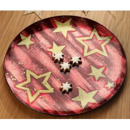 GILDE Deko-Schale Star in Bordeaux, rund, 18 cm