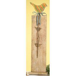 GILDE Deko-Ständer aus Mangoholz mit buntem Vogel, 77 cm