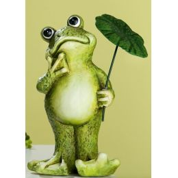 GILDE Dekofigur Deko Frosch mit Schirm aus Keramik in Grün, 24 cm