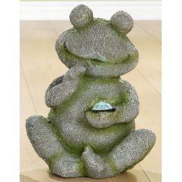 GILDE Dekofigur Frosch mit LED aus Magnesia in Grau Grün , 36 cm
