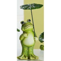 GILDE Dekofigur Frosch stehend mit Schirm aus Keramik, 12 cm