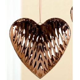 GILDE Dekohänger Herz aus Edelstahl in Gold mit Relifierung, 28 cm