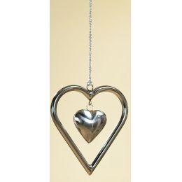 GILDE Dekohänger Herz aus Edelstahl, 14 x 13 x 2 cm