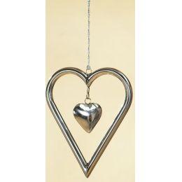 GILDE Dekohänger Herz aus Edelstahl, 16 x 19 x 2 cm