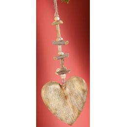 GILDE Dekohänger Herz aus Naturholz, weiß gewischt, 2 x 16 x 49 cm