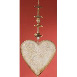 GILDE Dekohänger Herz aus Naturholz, weiß gewischt, 2 x 20 x 55 cm