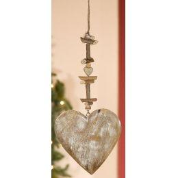 GILDE Dekohänger Herz aus Naturholz, weiß gewischt, 2 x 24,5 x 60 cm