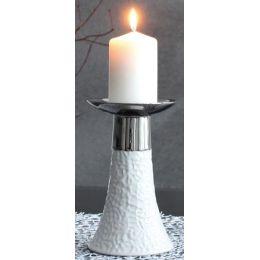 GILDE edler Kerzenhalter in Weiß und Silber, 12,5 x 12,5 x 25 cm