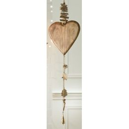 GILDE Girlande mit Herzen naturholzfarben, 100 cm
