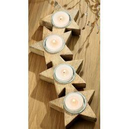 GILDE Holz-Tablett für vier Kerzen in Sternform aus Naturholz, 31 cm