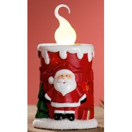 GILDE Keramik-Kerze Nikolaus mit LED Beleuchtung, 8,8 x 16,3 cm
