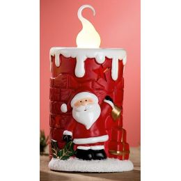 GILDE Keramik-Kerze Nikolaus mit LED Beleuchtung, rot, 13,3 cm
