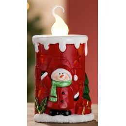 GILDE Keramik-Kerze Schneemann mit LED Beleuchtung, 13,3 cm